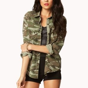 EUC Camo Button Up Shirt Jacket